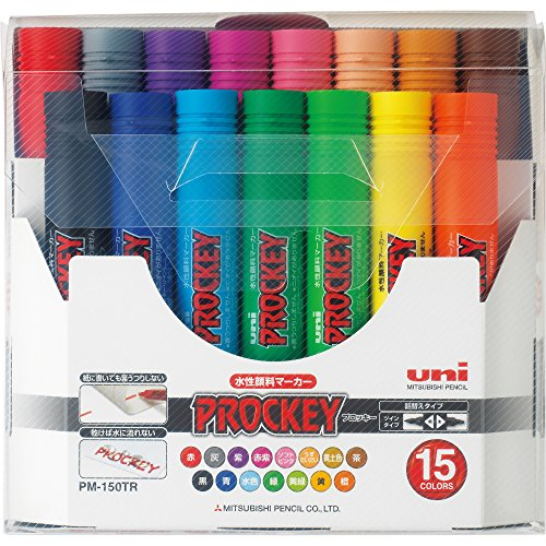Uni Prockey Fine Point And Bold Point Marker Pen 15 Color Set Pm150tr15cn