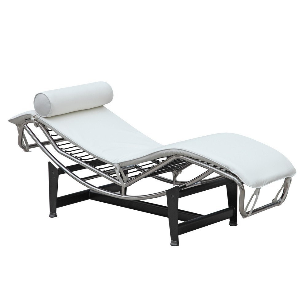 Mid Century Modern Classic Le Corbusier LC-4 Style Replica Chaise Lounge Chair With Premium White Genuine Leather and Stainless Steel Frame
