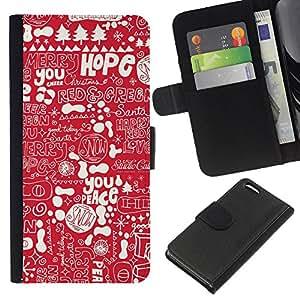 Stuss Case / Funda Carcasa PU de Cuero - Texto blanco Paz de Navidad - Apple Iphone 5C