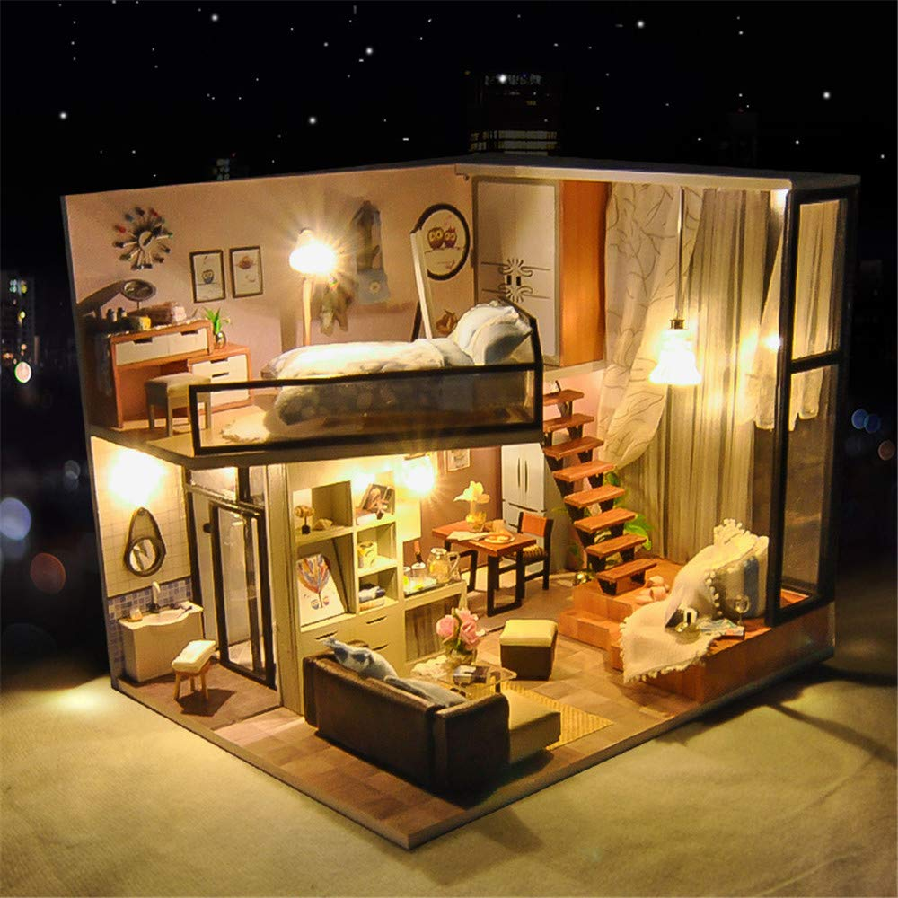 Casa fai-da-te Creativo fatto a mano piccola casa modello di assemblaggio miniatura 3d kit artigianale serra per adulti - casa di bambole in legno con mobili e accessori, giocattoli educativi per raga