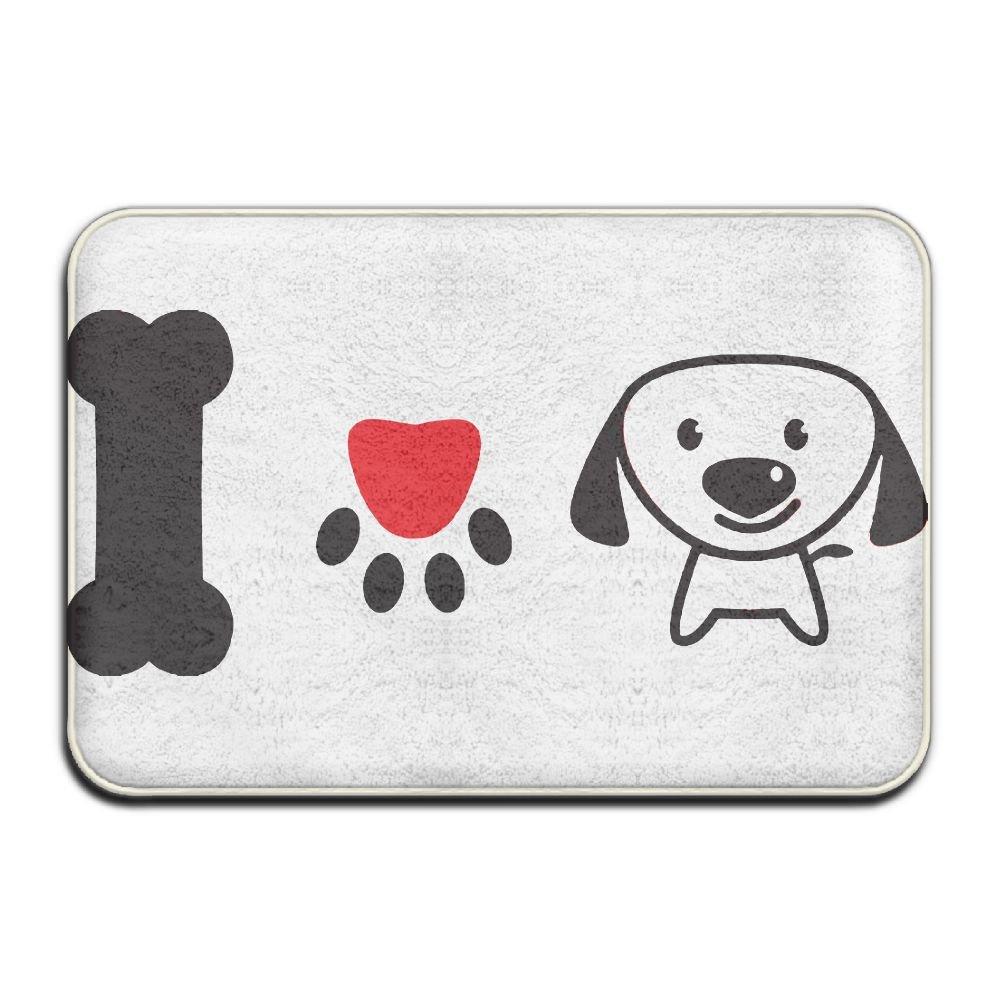 KOESBY-MT Super Soft Bedroom Rugs I Love Dog Washable Bath Mats
