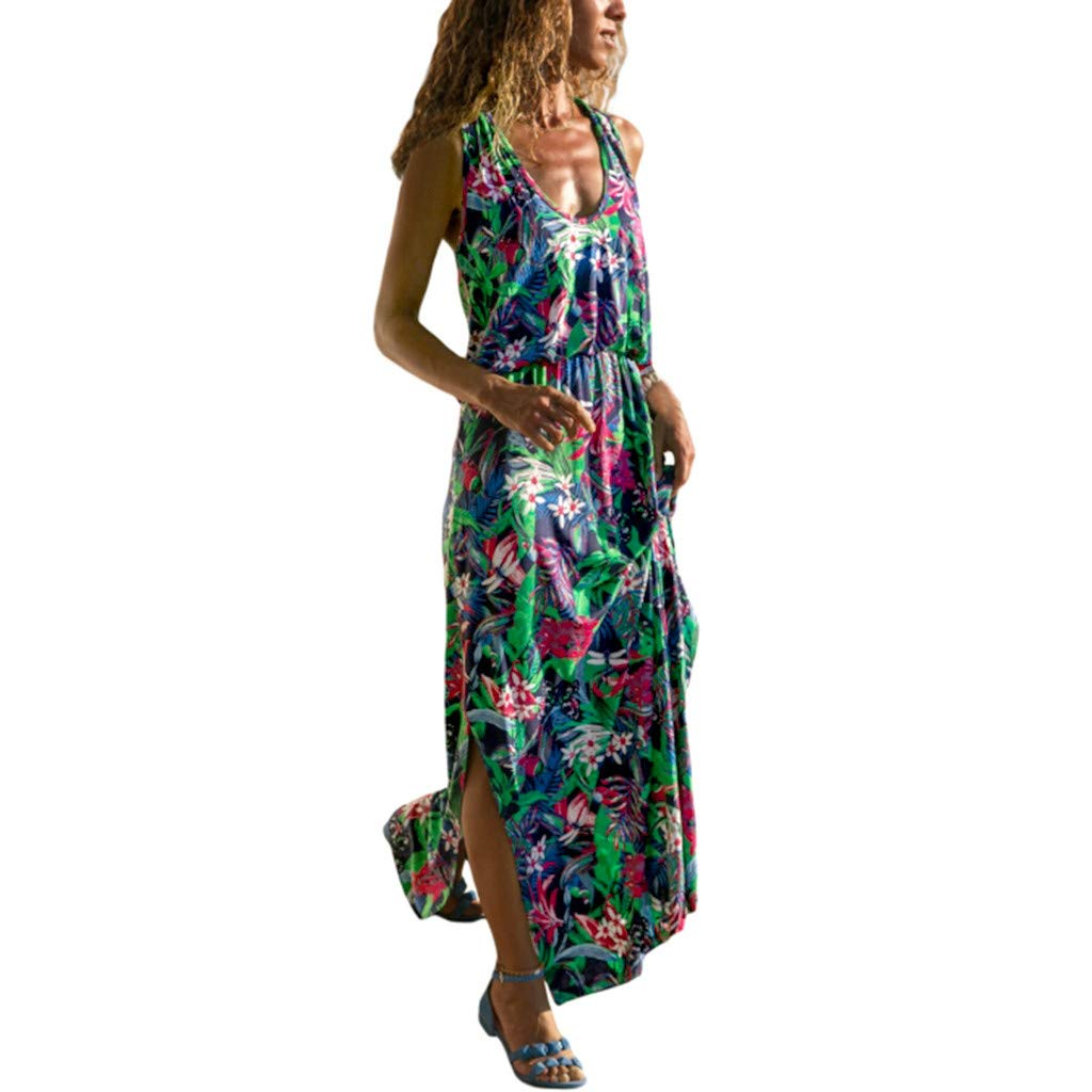 Big Sale! Wintialy 2019 Women Summer Sleeveless Floral Printed Hollow-Out Back Tank Maxi Dress Green