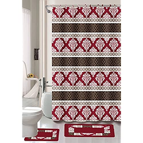 Burgundy Black Red Jane 15 Piece Bathroom Set 2 Rugs Mats 1 Shower Curtain 12 Rings