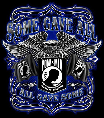 Some Gave All Pow Mia Black Tee Shirt Size Xxl Adult T269 Military Eagle New (Ladies Police Tie Front Shirt)