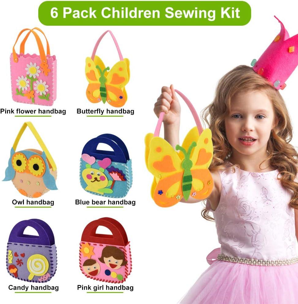 BUZIFU Kit de Costura para Ni/ñas Juego de Costura Infantil para Realizar 6 Bolsos de Fieltro con Diferentes Patrones Juguete de Coser Actividades Creativas de Bricolaje para Clases Manuales o Regalos