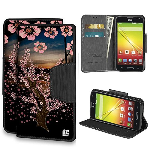 (Beyond Cell ®Infolio® LG Optimus L70/LG D325/LG Realm LS620/LG MS323/LG Ultimate 2 L41C (T-mobile,Metro PCS,Boost Mobile,Cricket)Premium 2-Layer Protection Luxury PU Leather Folio Flip Cover Wallet Phone Case With Built in Media Kickstand and Card Slots - Sunset Sakura Design - Retail Packaging)