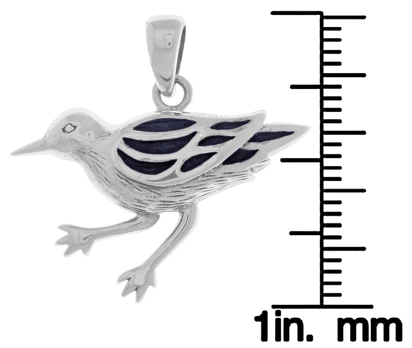 Jewelry Trends Sterling Silver Ocean Sea Bird Pendant with Blue Enamel