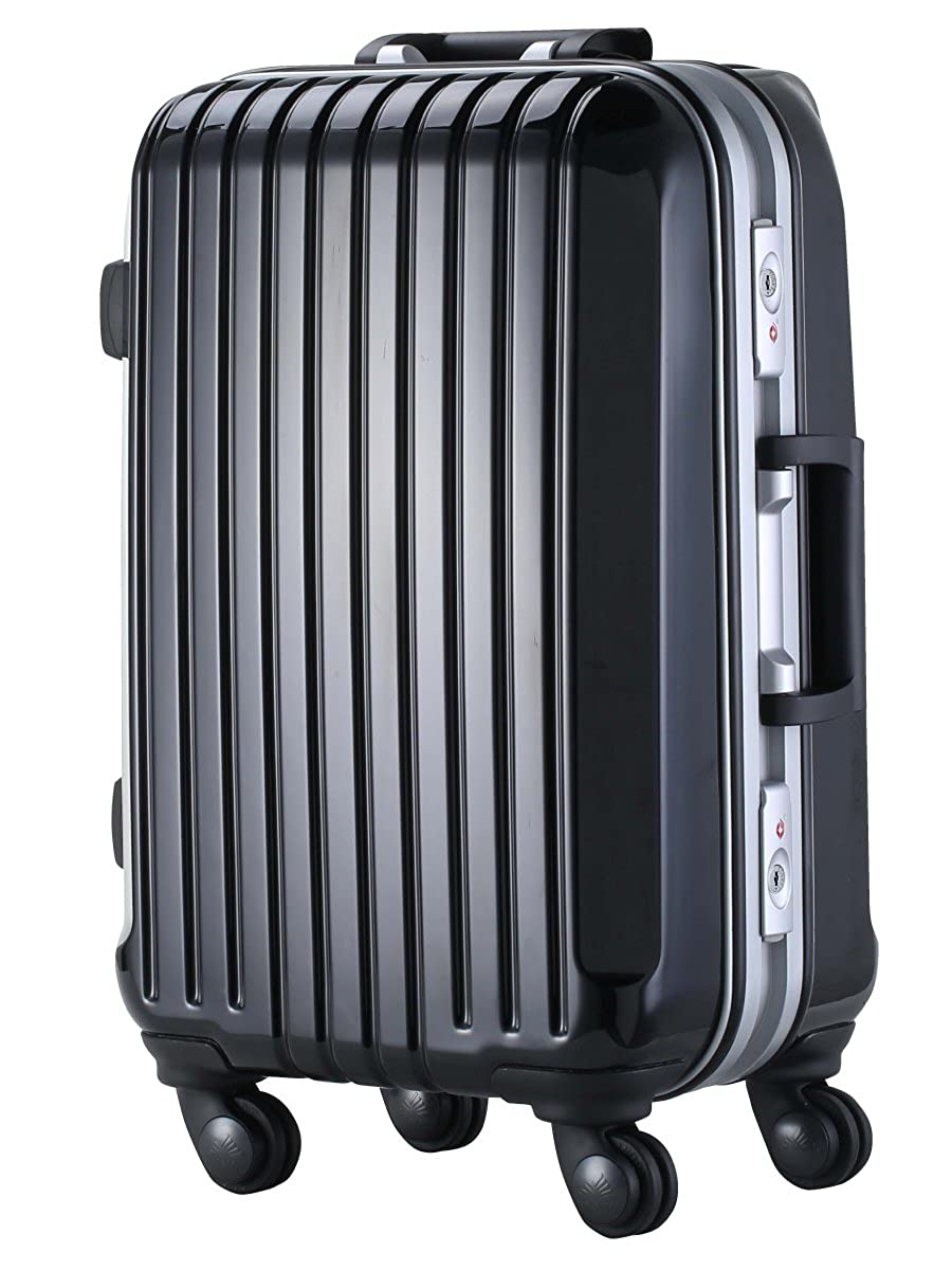 Kugimachi CO.LTD (クギマチ) TSAロック搭載 スーツケース ダブルキャスター搭載 DL-2254 フレーム開閉式 7色4サイズ 【1年間修理保証対応】 S リッチブラック B015XFB582