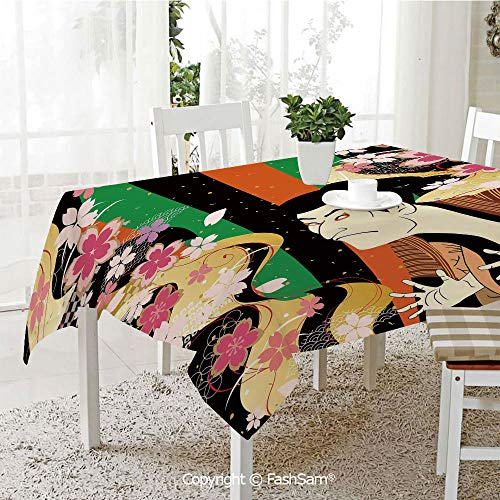AmaUncle 3D Dinner Print Tablecloths Colorful Vertical Stripes Fresh Sakura Blooms and Actor Composition Resistant Table Toppers (W60 xL84) -