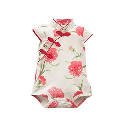 28d4289f8 Molyveva Baby Girls Floral Sleeveless Romper Cheongsam Bodysuit Summer  Clothes