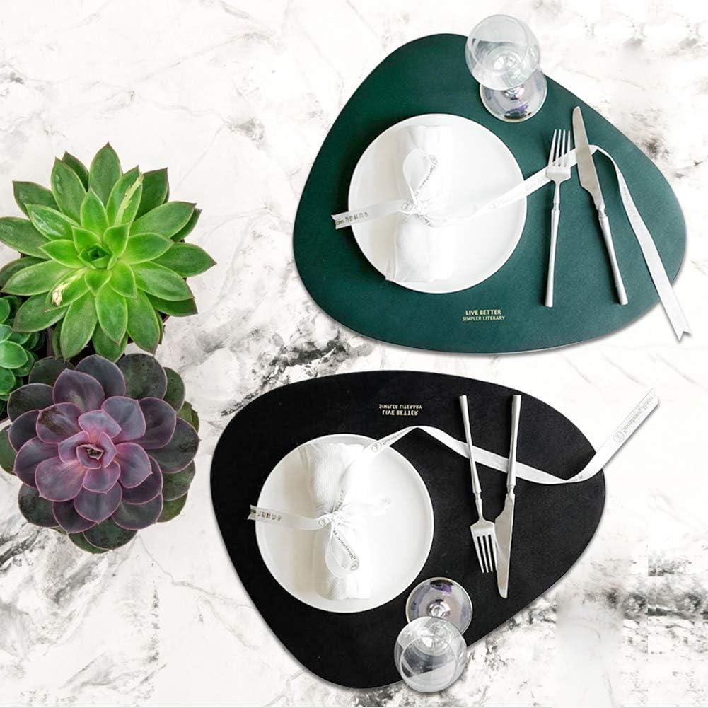 Rutschfest Tischsets Abwaschbar Oval Schmutzabweisend 2-teiliges Set mit Tassenmatte Schwarz Hochwertig Pu-Leder f/ür Wasserdicht /Öl Leder Platzset Gr/ün