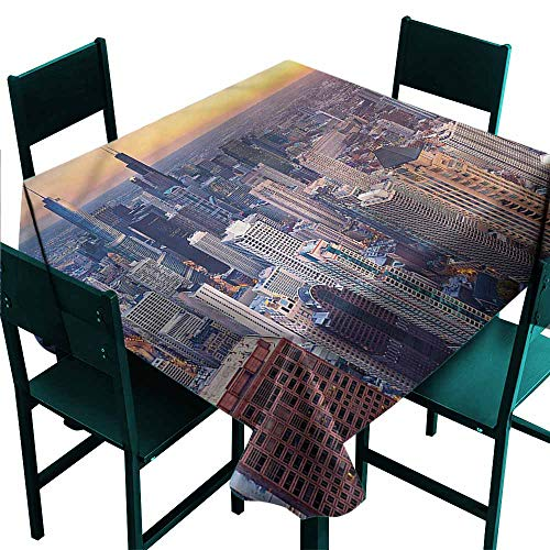 Iridescent cloud American Washable Table Cloth Chicago City Aerial View Waterproof/Oil-Proof/Spill-Proof Tabletop Protector W36 x L36