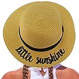 C.C Girls Kids Wording Sayings Summer Beach Pool Floppy Dress Sun Adjustable Hat Natural (Little Sunshine)