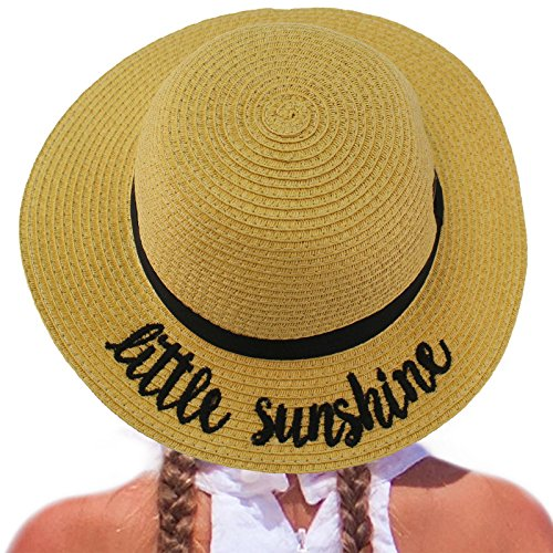 - C.C Girls Kids Wording Sayings Summer Beach Pool Floppy Dress Sun Adjustable Hat Natural (Little Sunshine)