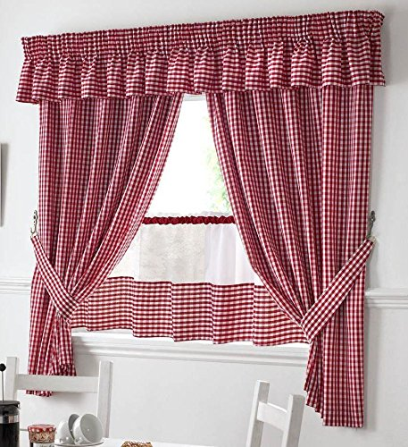 Amazon Com Red And White Gingham Kitchen Curtains 46 X54