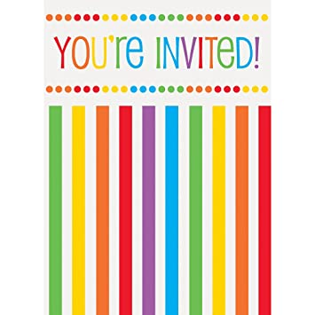 Rainbow Party Invitations Pack of 8 Amazoncouk Kitchen Home