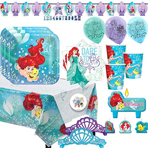 - The Little Mermaid Princess Ariel Birthday Party Supplies Pack For 16 With Ariel and Flounder Plates, Napkins, Cups, Tablecover, Birthday Banner, Candles, Balloons, Mermaid Tiaras, and Exclusive Pin
