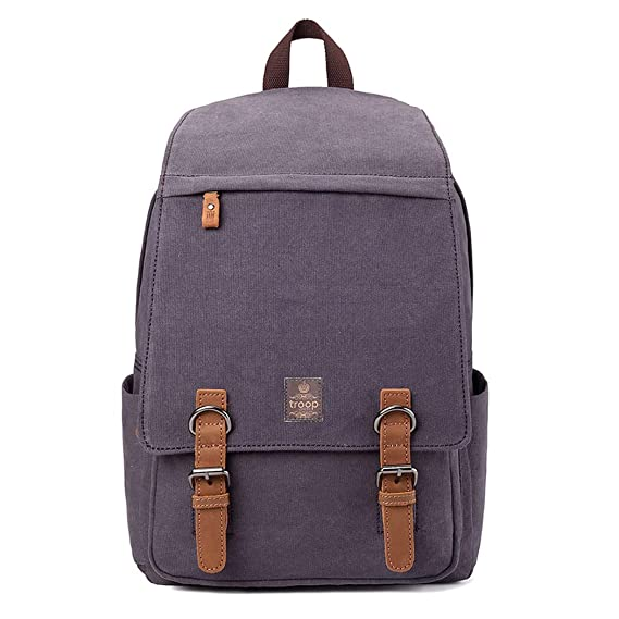 TRP0423A Troop London Heritage Canvas Leather Laptop Backpack Up To 15.6  Inch 479bacbd0912e