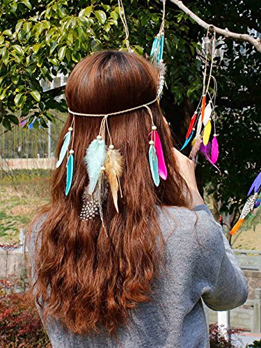Brazilian Showgirl Costume (LittleB Indian Feather Headbands Craft Boho Headdress and Fashion Headpiece for women.)