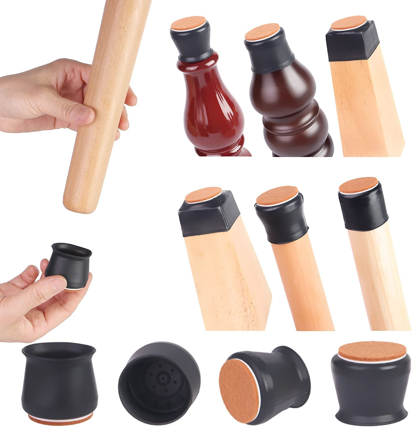 GYMOVE Chair Leg Protectors for Hardwood Floors with Felt,Silicone Furniture Legs Caps,Furniture Feet Protection Cover Anti Stratch/Slide Easily and Silently 16 Pcs (Fit: 1.18