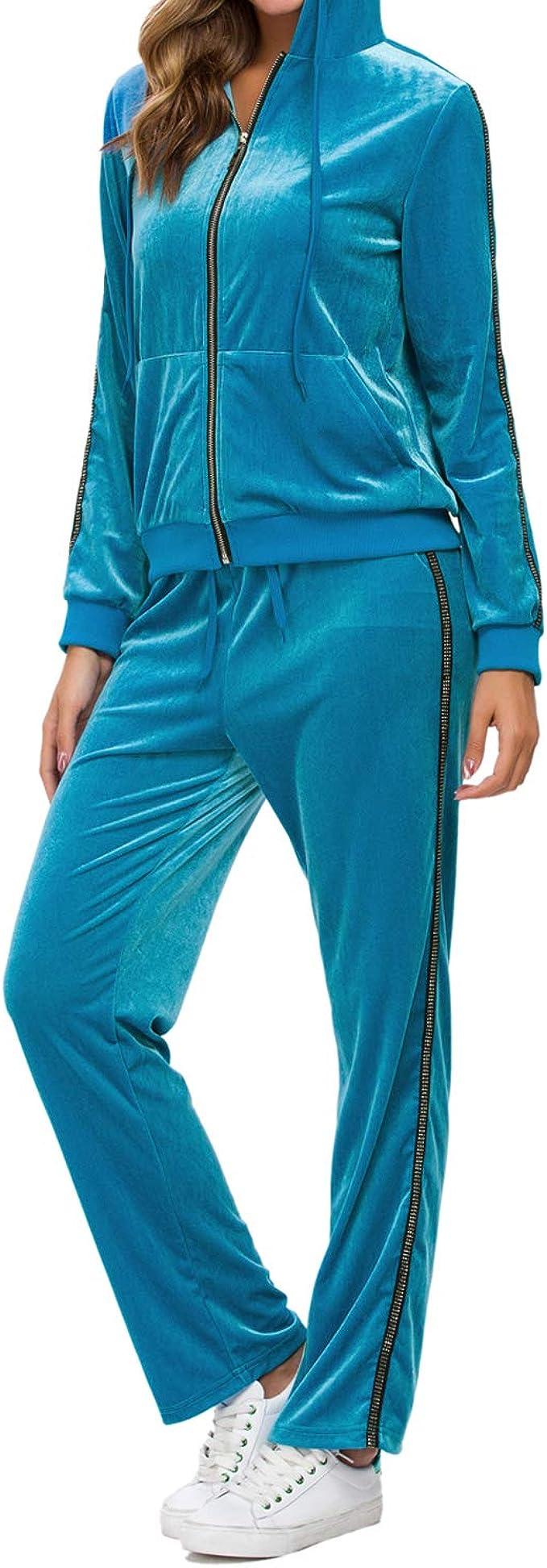 QCHENG Plus Sweatsuits for Women 2PC Striped Long Sleeve Pullover Sweatshirt Long Sweatpants Tracksuits Sweatsuits Set