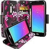 LG K8 Case, LG Phoenix 2 Case, LG Escape 3 Case, Wrist Strap Flip Folio [Kickstand] Pu Leather Wallet Case with ID&Credit Card Slot For K8, LG Phoenix 2, Lg Escape 3, Hot Pink Heart Sensation