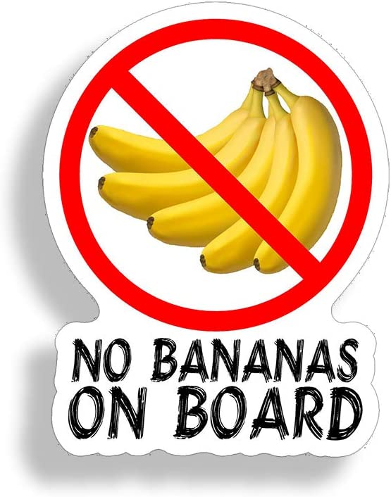 No Bananas On Board Sticker Funny Fish Fishing Decal Laptop Boat Car Window Bumper Graphic