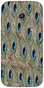 Snoogg Peacock Feathers Designer Protective Back Case Cover For Moto-E 2Nd Ge...