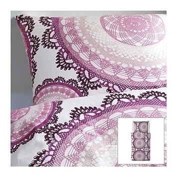 Ikea Lyckoax Housse De Couette Blanc Violet 155x220cm 2 Taies