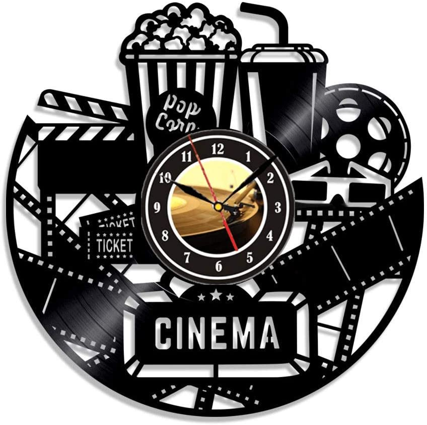 Home Theater Cinema and Popcorn Vinyl Record Wall Clock Movie Film Time Clock Watch Room Wall Home Theater Wall Decor Wall Art Gift for Movie Lover Gift Idea for a Best Friend