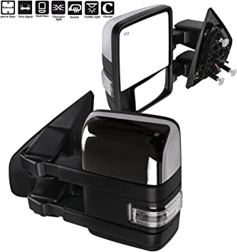 for Ford F150 Towing Mirrors with Puddle Lights Black Rear View Mirrors for 2004-2014 F-150 with Auxiliary Lights Turn Signal Power Control Heated Manual Telescoping Folding
