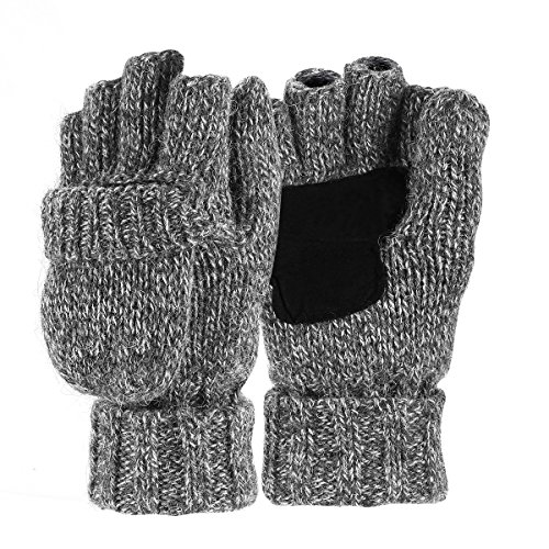 Sudawave Men's Knitted Wool Gloves with Leather Patch on Palm Micro Fleece Lined Warm Winter Gloves (Grey)