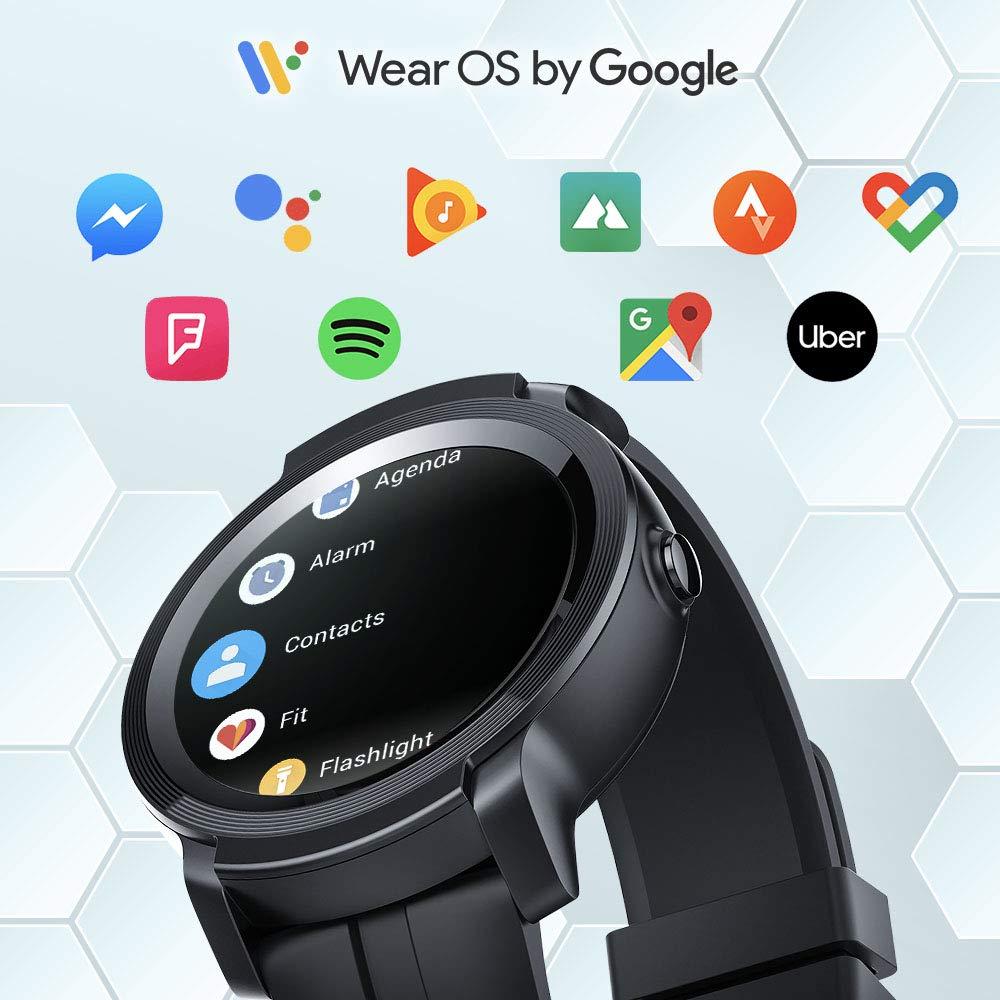 c17eae8d07 Amazon | 【2019最新版】TicWatch E2 スマートウォッチ Google Wear OS GPS 心拍計搭載 5ATM防水&水泳対応  多機能 フィットネス 腕時計 iPhone&Android対応 ブラック ...