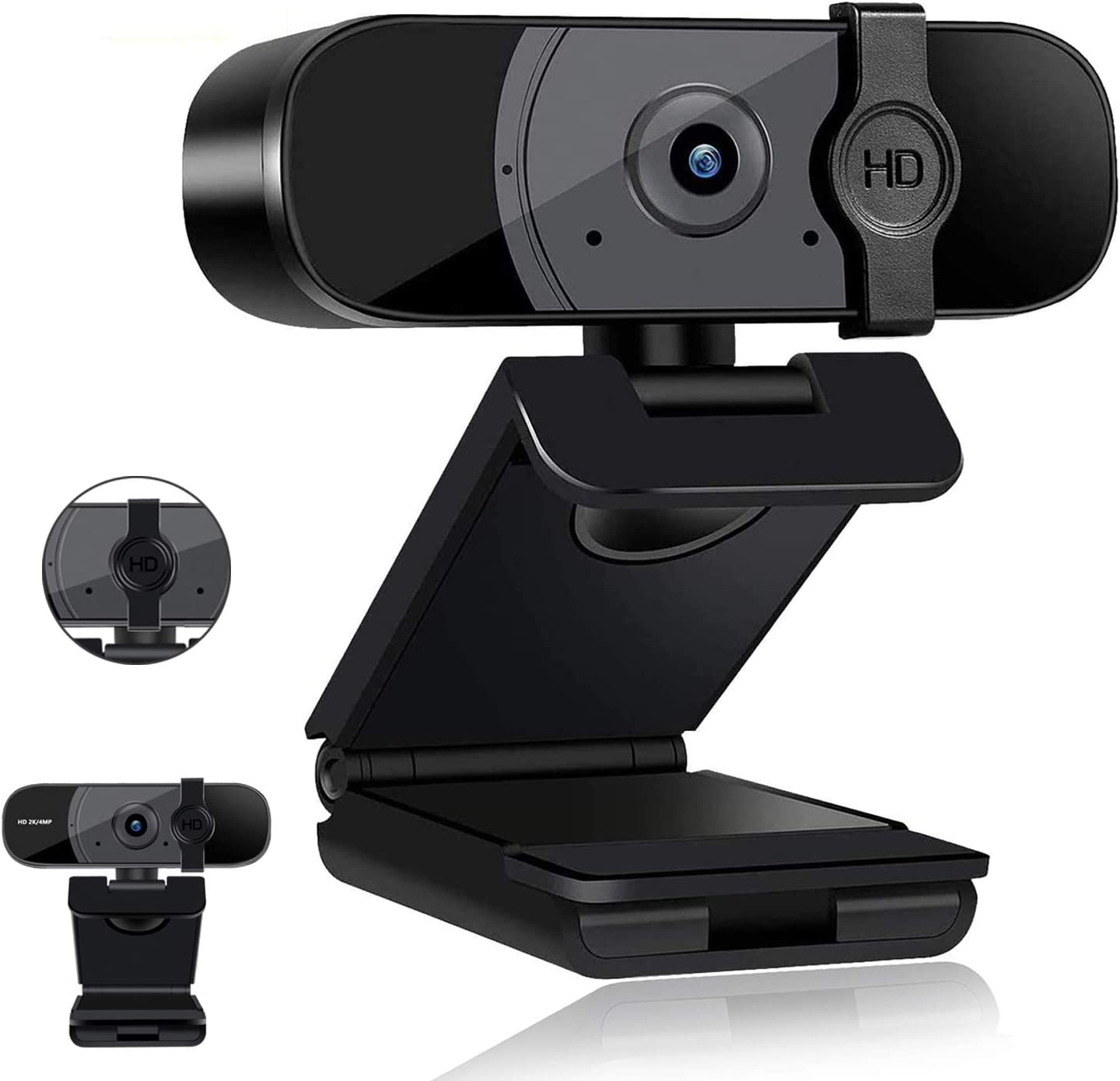 Webcam with Microphone, Camera Computer,2K HD Web Camera with Privacy Cover, USB 3.0 Plug and Play Streaming Webcam with Flexible Rotable Wide Angle Webcam for PC Laptop YouTube, Skype