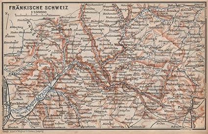 Amazon Com Franconian Switzerland Frankische Schweiz Topo Map
