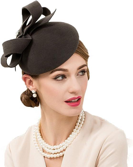e35a5f0d549fa Womens Fascinator Wool Felt Cocktail British Vintage Pillbox Hat Gray One  Size