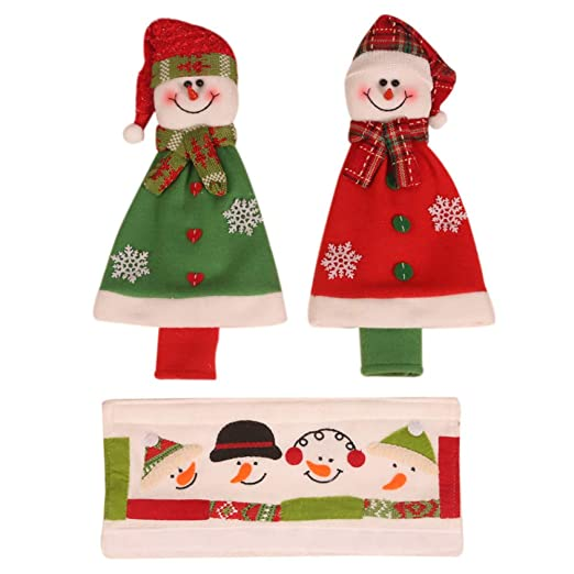 QERTYU Capa navideña microondas refrigerador Doble Puerta manija ...