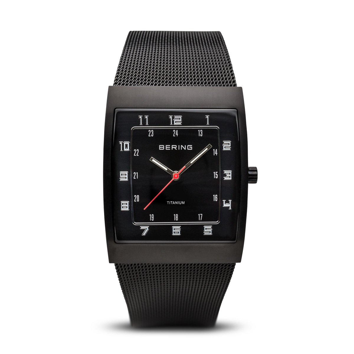 BERING Time 11233-222 Mens Titanium Collection Watch with Mesh Band and super hardened mineral glass. Designed in Denmark.