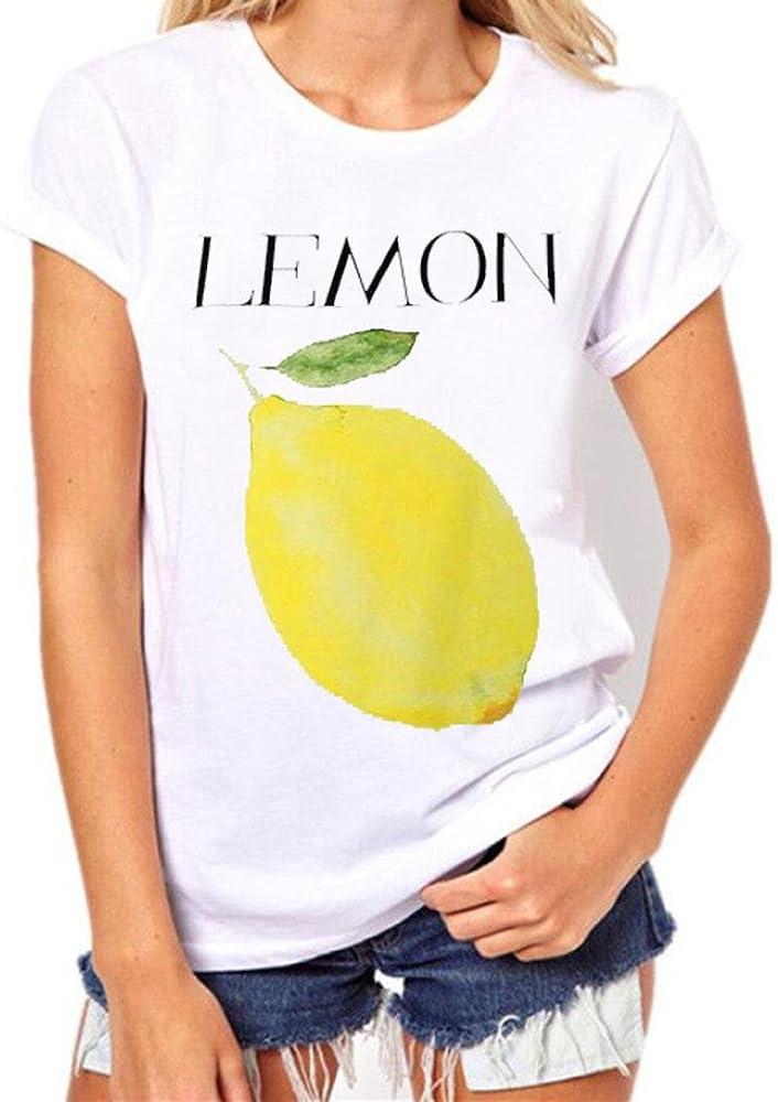 75d6c30cbcaa8 Kollmert Cool in Summer Women Fruit Print Short Sleeve Tops T Shirt Fashion  Blouse (S