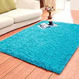 LOCHAS Ultra Soft Indoor Area Rugs Fluffy Living Room Carpets Suitable for Children Bedroom Home Decor Nursery Rugs 4 Feet by 5.3 Feet (Blue)