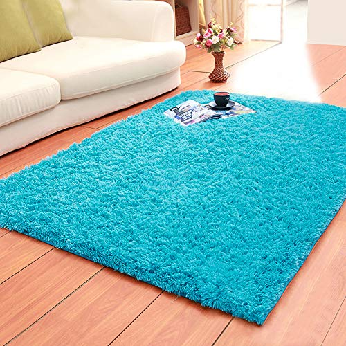 Rectangular Kids Rug - LOCHAS Ultra Soft Indoor Area Rugs Fluffy Living Room Carpets Suitable for Children Bedroom Home Decor Nursery Rugs 4 Feet by 5.3 Feet (Blue)