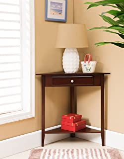 Kings Brand Walnut Finish Wood Corner Sofa Accent Table With Drawer