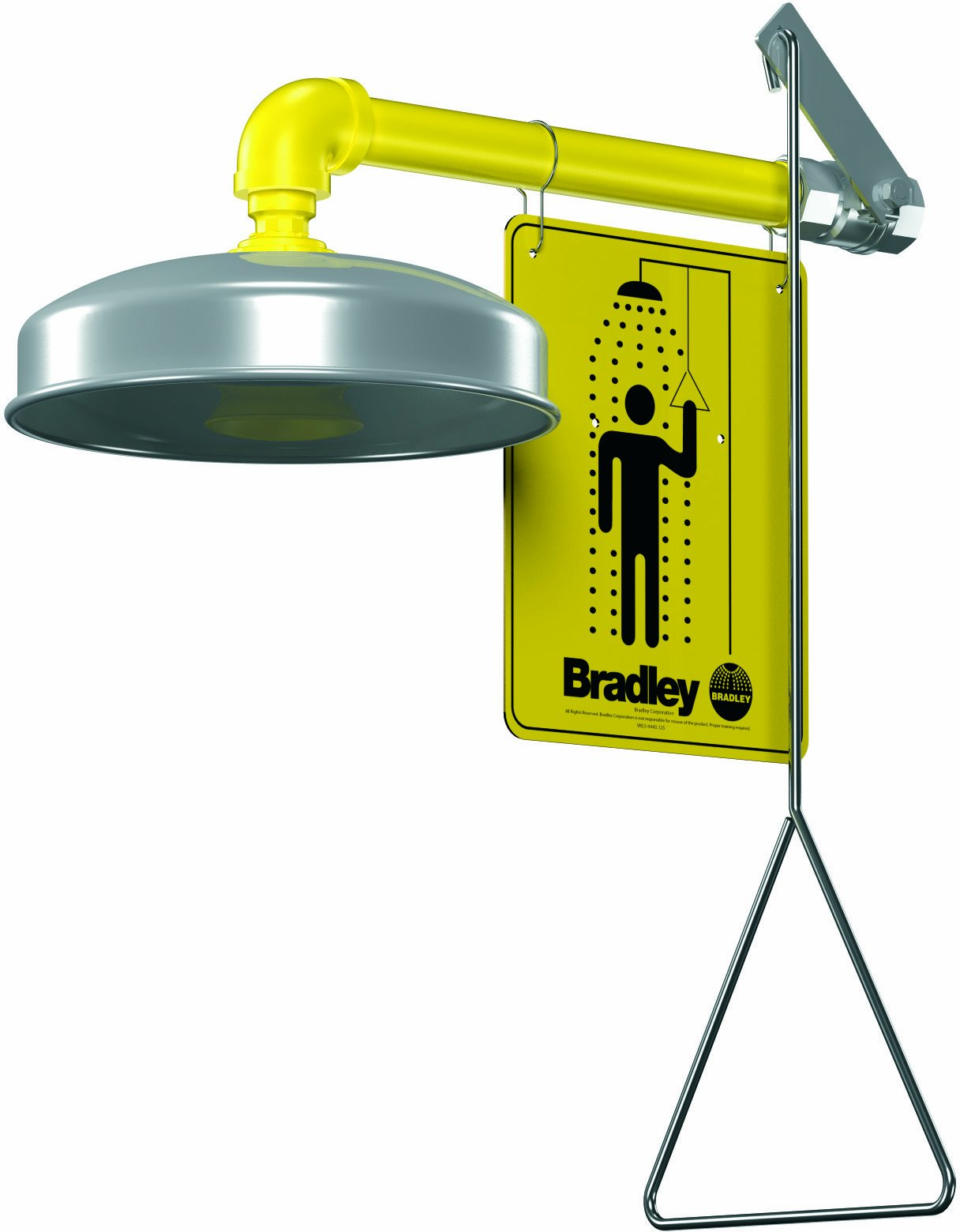 Bradley S19-120A Galvanized Steel 1 Spray Head Horizontal Supply Safety Shower with Stainless Steel Showerhead, Wall Mount, 20 GPM Water Flow, 9'' Width x 25-1/2'' Height x 15-3/4'' Depth