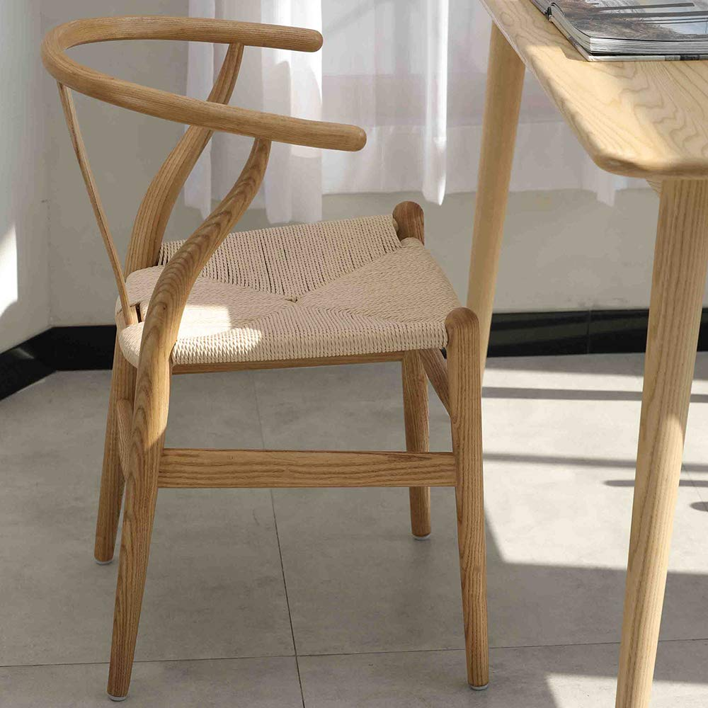 Tomile Wishbone Y Solid Dining Chairs Rattan Armchair Ash (Natural Wood + Chestnut Shell Color Painting), Multicolor