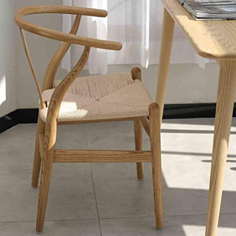 Admirable Tomile Wishbone Y Solid Dining Chairs Rattan Armchair Ash Natural Wood Chestnut Shell Color Painting Multicolor Ibusinesslaw Wood Chair Design Ideas Ibusinesslaworg