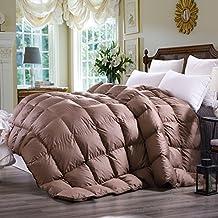 C&W Luxurious Goose Down Comforter King Size Duvet Insert 800TC, 65 Oz Fill Weight ,All Season Lightweight Down Comforter (King Size,Mocha)