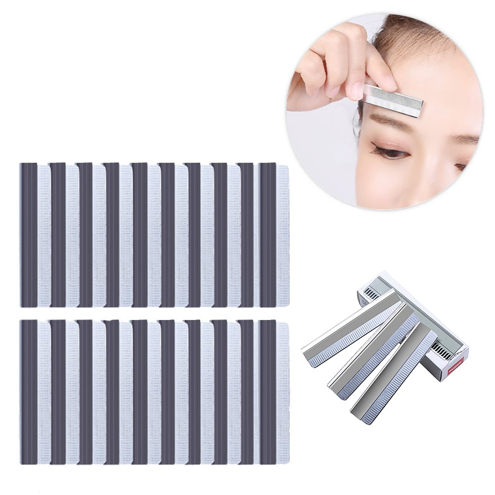 HaloVa Eyebrow Razor, Mini Stainless Steel Eyebrow Shaving Blade Shaper Trimmer, Sharp Rust-proof Reusable & Dual Use, Facial Hair Knife Remover Makeup Tools, for Women and Men, 20 PCS