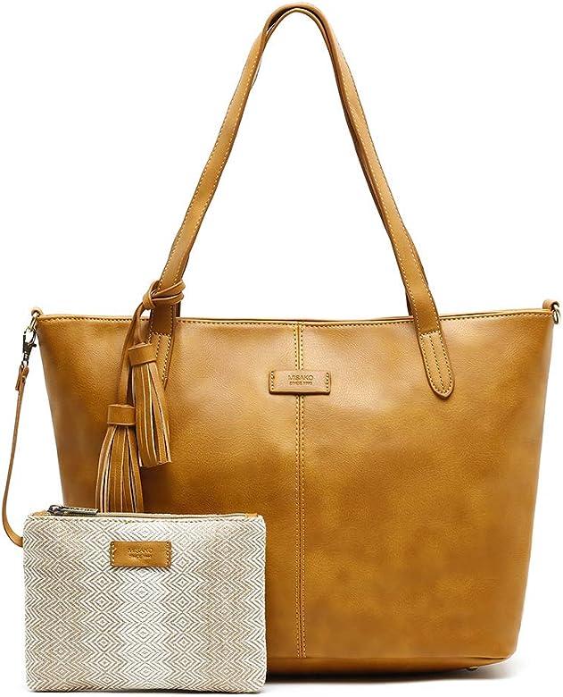 MISAKO Bolso Shopper de mujer KART   Pack de bolso y Neceser a juego de regalo   Bolso grande de hombro para mujer en polipiel con tira bandolera - 14x45x28cm: Amazon.es: Zapatos