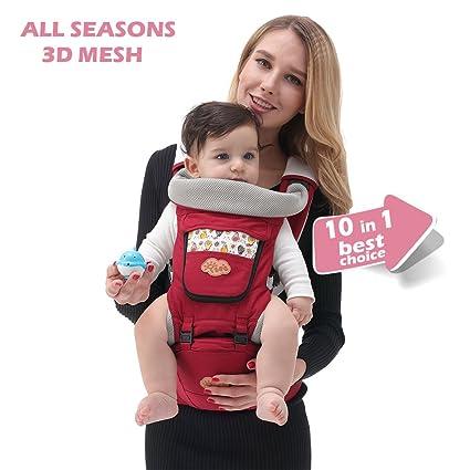 Mochila portabebes para llevar bebe, Portabebes de diseño Ergonómico con 10 posiciones Comodidad para su