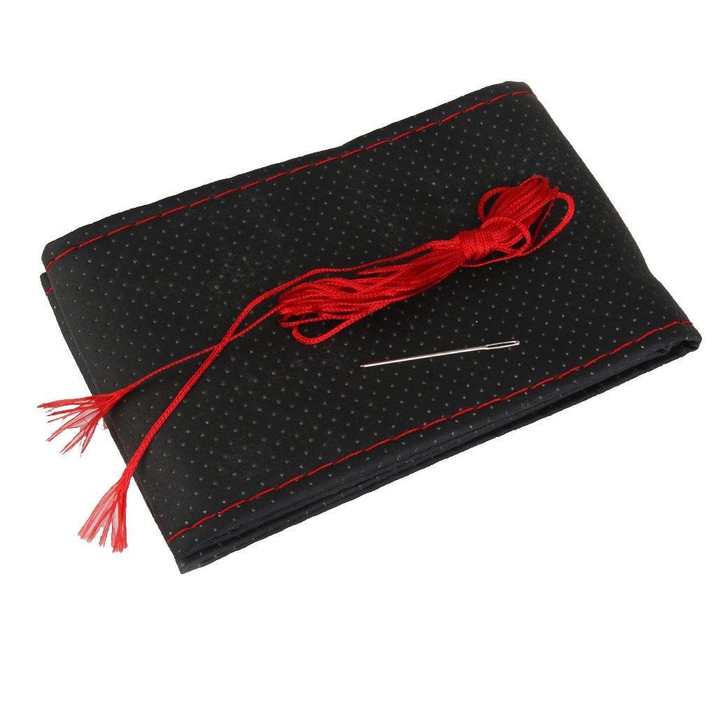 La Couverture De Volant De Voiture Bricolage Avec Des Aiguilles Et Du Fil Noir + Cuir Rouge PU Generic STK0114013712